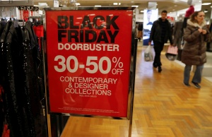A Black Friday advertisement stands during the shopping event at Roosevelt Field Mall in Garden City, New York