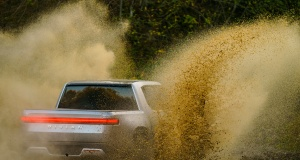 The R1T the all-electric pickup by Rivian an American electric-car company