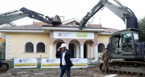 Italy's interior minister Matteo Salvini takes part in the demolition of a villa built illegally by an alleged Mafia family in Rome