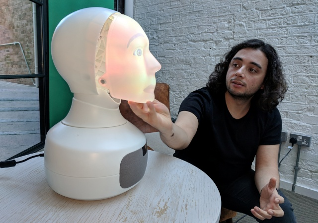 Robot Furhat is shown at a demonstration of technology in London