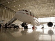 Mexican Air Force Presidential Boeing 787-8 Dreamliner is pictured at a hangar before it is put up for sale by Mexico's new President Andres Manuel Lopez Obrador, at Benito Juarez International Airport in Mexico City