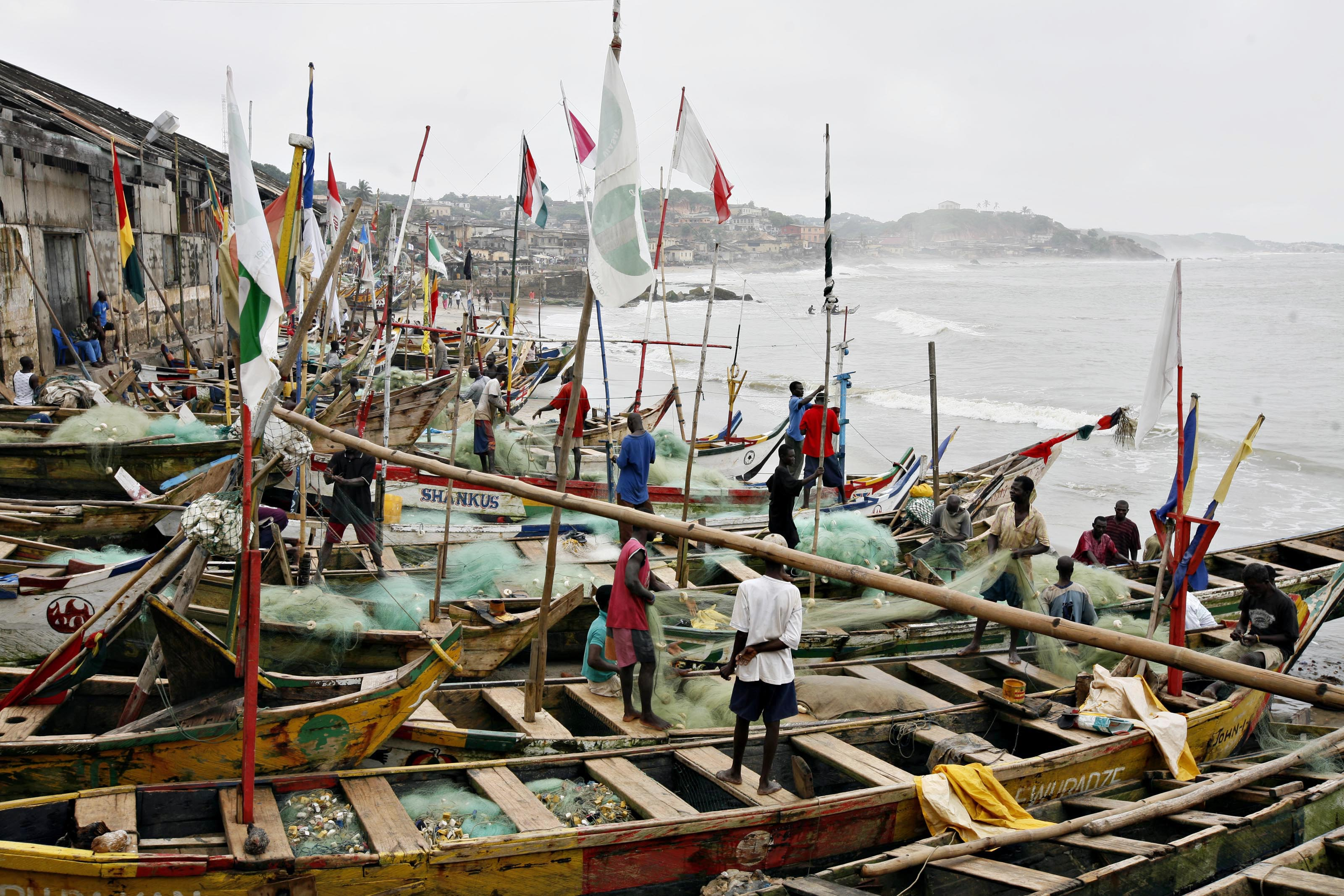 General view of the local fishing community at Cape Coast in Ghana