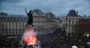 """A view of the Place de la Republique as protesters wearing yellow vests gather during a national day of protest by the """"yellow vests"""" movement in Paris"""