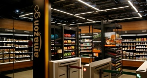A smaller format Amazon Go store, which will be open to Amazon employees and their guests, is pictured in the Blue Shift Amazon office space in downtown Seattle