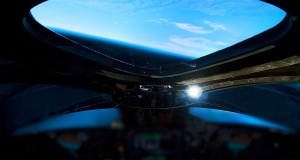 A view from the edge of space is seen from the cockpit of Virgin Galactic's manned space tourism rocket plane SpaceShipTwo during a space test flight over Mojave