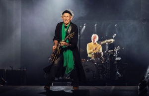 Keith Richards and Charlie Watts of the Rolling Stones perform during a concert at Friends Arena in Stockholm
