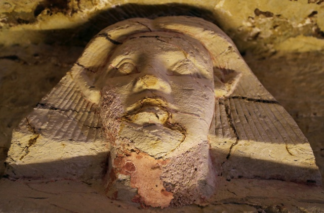 A statue is seen inside the newly-discovered tomb of 'Wahtye', which dates from the rule of King Neferirkare Kakai, at the Saqqara area near its necropolis, in Giza