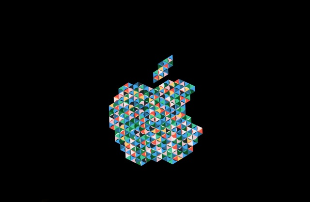 The Apple logo is shown during an Apple launch event in the Brooklyn borough of New York