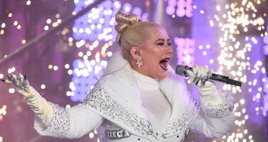 Christina Aguilera performs during New Year's Eve celebrations in Times Square